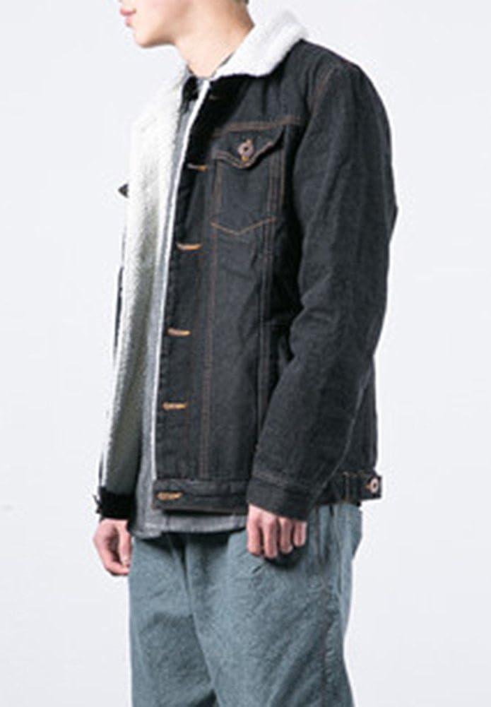 LifeHe Mens Winter Fleece Lined Fur Collar Denim Jacket Coats