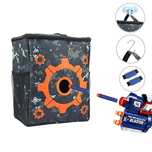Clovertale Target Pouch Storage Bag For Tactical Nerf Gun Games With 2 Dart Wrister  And 2 Hooks For Nerf N Strike Elite Mega Rival Series  1 Pack