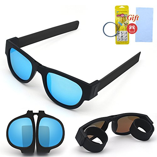Hycles Foldable Sunglasses Polarized Lenses Folding Fashion Colorful Outdoors Sports Sunglasses Wear on Wrist for Adults and Kids (Ice blue lens, black leg)