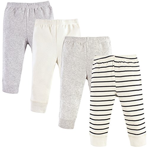 Baby Casual Pants - Luvable Friends Baby Cotton Tapered Ankle Pants, Cream Stripes 4 Pack, 6-9 Months (9M)