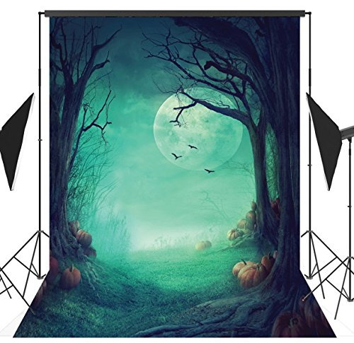 5x7ft Halloween Pumpkin & Horror Nights Moon & Mysterious Forest & Costume Party Masquerade Decoration Photo Backdrops CP Customized Studio Background Studio Props (Halloween Customs And Traditions For Kids)