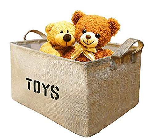 Youdepot Large Jute Storage Bin 17 x 13 x 10 large enough for Toy Storage Gift Baskets-1 Pcs Toys Storage Bin Storage Basket for organizing Baby Toys Baby Clothing Children Books Kids Toys