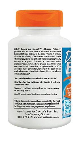 Doctor's Best Natural Vitamin K2 MK-7 with MenaQ7, Non-GMO, Vegan, Gluten Free, Soy Free, 100 mcg, 60 Veggie Caps - 514JHek5uvL - Doctor's Best Natural Vitamin K2 MK-7 with MenaQ7, Non-GMO, Vegan, Gluten Free, Soy Free, 100 mcg, 60 Veggie Caps