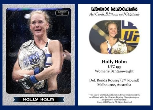 Holly Holm New 2015 ACEO Rookie Card RC UFC 193 Commemorative MMA in a one touch magnetic case!