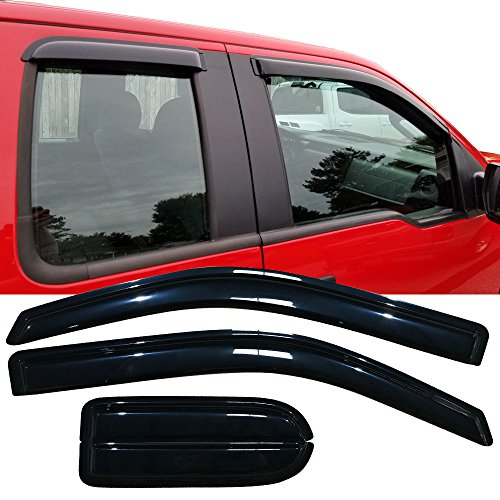 Window Visor Fits 2004-2014 Ford F150 Extended Cab Pickup | Slim Style Acrylic Black Sun Rain Guards Cover By IKON MOTORSPORTS | 2005 2006 2007 2008 2009 2010 2011 2012 2013 ()