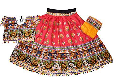 Nanda Women Rayon Traditional Wear Gujarati Chaniya Choli-Embroidered Lehenga Choli-Navratri Garba Ghagra Choli Peach Free Size ()