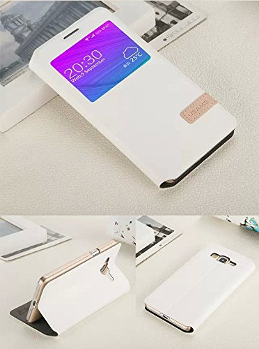 Case for Samsung Galaxy Grand 3, Hi5Gadget Fashion View Window Leather Stand Flip Case Cover Protect for Samsung Galaxy Grand 3 G7200 (White)
