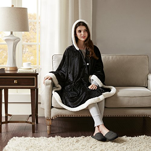 Comfort Spaces - Glimmersoft Plush Hooded Angel Throw Wrap - Wearable Blanket - 58x72 inches - Black, Sherpa Trim - Gift Box