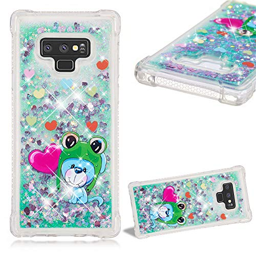 Cistor Glitter Liquid Case for Samsung Galaxy Note 9,Luxury Bling Floating Love Hearts Quicksand Animals Painting Cover Anti-Scratch Transparent Soft TPU Silicone Case for Samsung Galaxy Note ()