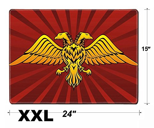 Liili Extra Large Mouse Pad XXL Extended Non-Slip Rubber Gaming Mousepad 24x15 Inch, 3mm thick Stitched Edge Desk Mat Double headed eagle in dark red background Photo 3021781