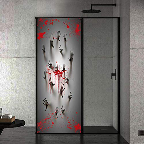 Enjoyment Halloween Bloody Handprint Footprint Sticker Halloween Window Stickers Halloween Haunted House Wall Decal Scary Bloodstain Window Clings Decals for Halloween Party Decoration