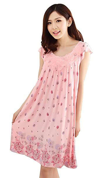 Camisón Mujer Tallas Grandes Elegante Verano Manga Corta Cuello Redondo Pijamas Mujer Fiesta Estilo Niña Cute