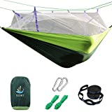 SZXKT Camping Double Hammock Mosquito Net Outdoor Hammock Travel Bed Lightweight Parachute Fabric Double Hammock, Portable Hammock for Travel, Hiking, Backpacking, Beach, Yard (Green + Dark Green)