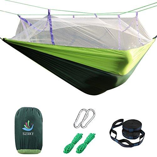SZXKT Camping Double Hammock Mosquito Net Outdoor Hammock Travel Bed Lightweight Parachute Fabric Double Hammock, Portable Hammock for Travel, Hiking, Backpacking, Beach, Yard (Green + Dark Green) by SZXKT