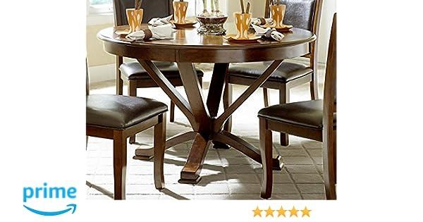 Amazon Com Benzara Bm175982 Wooden Round Dining Table Brown One