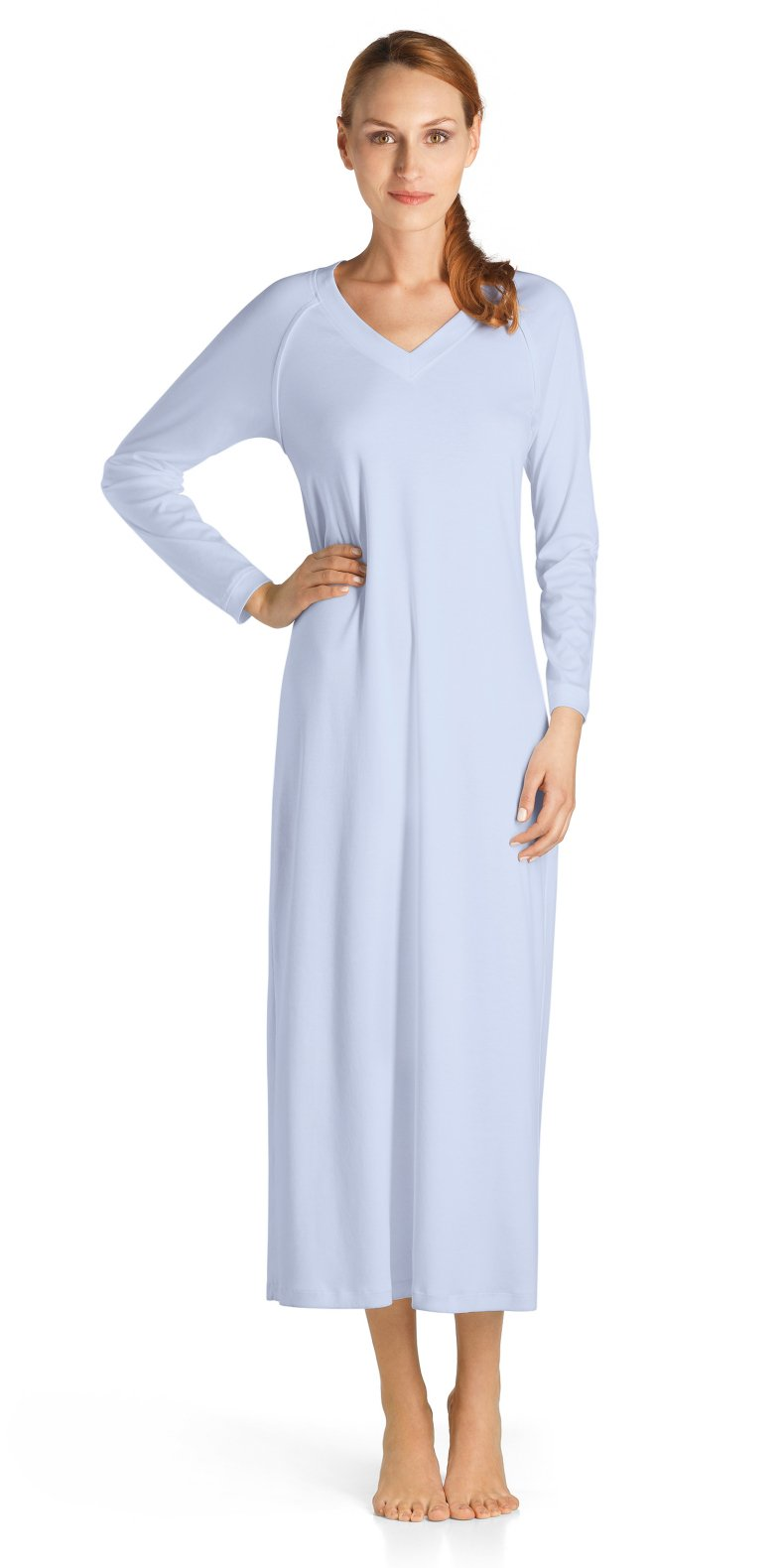 Hanro Women's Pure Essence Sleeve Long Gown, Blue Glow, Large by HANRO (Image #1)