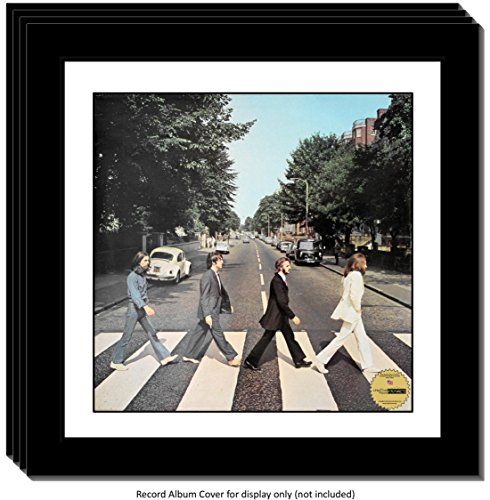 Creative Picture Frames CreativePF [4pk15x15bk-w] LP Vinyl Record Frame Display with White Mat, Cover Insert, Glass and Wall Hanger ()