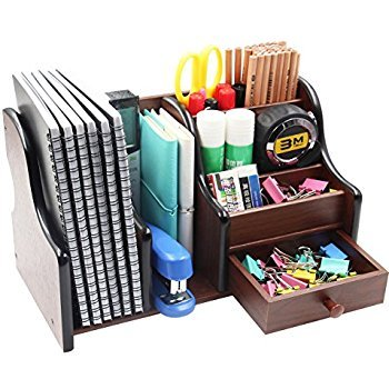 Lukzer Wooden Pen Pencil Stand With Drawer Office Stationery Mobile