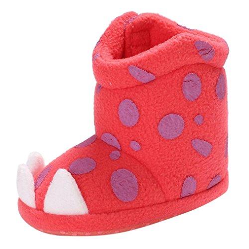 Snow Booties für Baby Girl Boy - cinnamou Neugeborene weiche rutschfeste Flecken Stiefel - Infant Kleinkind Baumwolle Erwärmung Krippe Sneaker Schuhe Rot