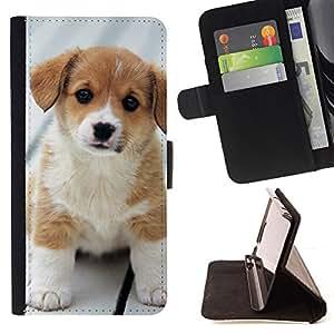 KingStore / Leather Etui en cuir / Samsung Galaxy S4 Mini i9190 / Bebé Cachorro Golden Retriever Labrador