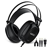 Stereo Gaming Headset for PS4,PC, Xbox One, Bass Surround,Professional 3.5mm Over Ear Headphones with Mic and Volume Control,LED light,47-inches longPVC Mainline,Lightweight design A6(black).