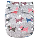 "Kawaii Baby Printed Snap One Size Cloth Diaper with 2 Microfiber Inserts ""Puppie"""