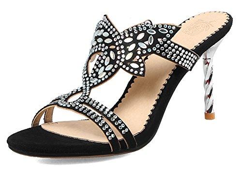 Fille Talon Femme Aisun Haut Mules Diamants Stiletto Noir Sexy xfYwxqBp
