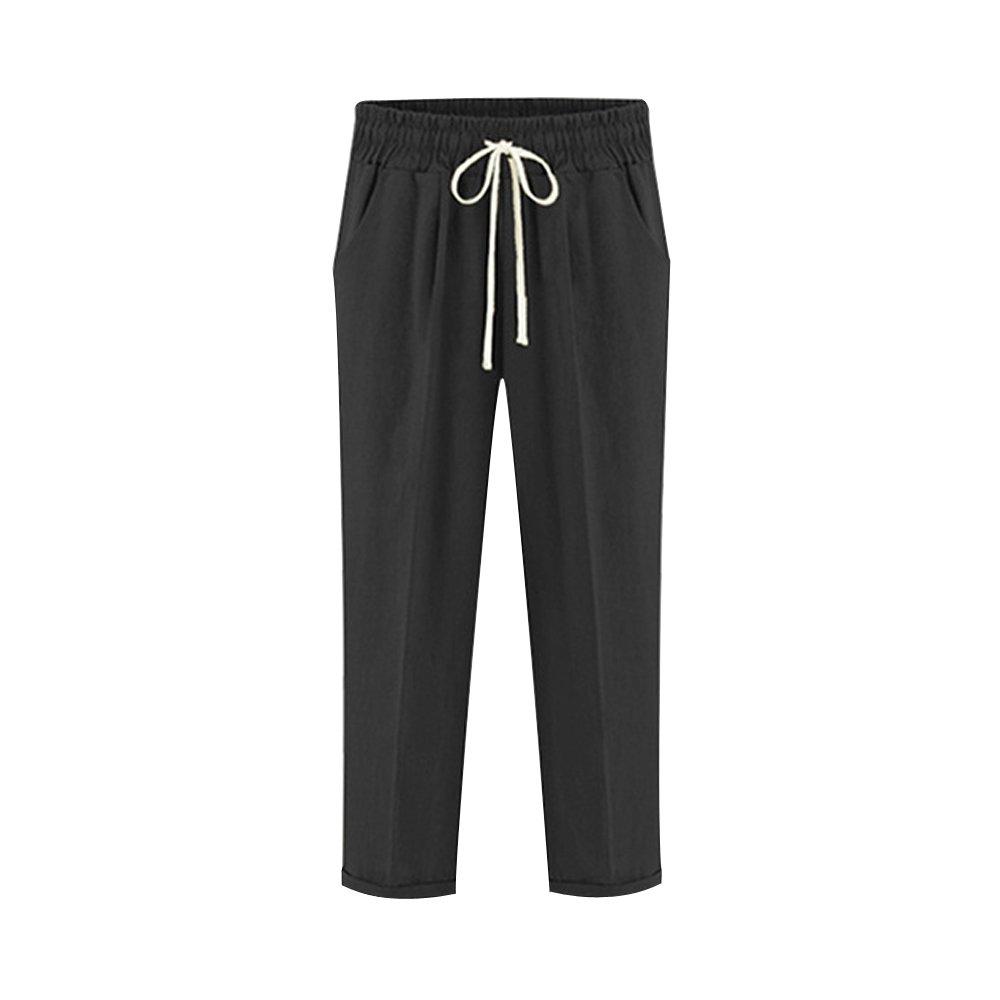 Sobrisah - Pantalones de Mujer de algodón con cordón elástico para la Cintura, Estilo Casual y Holgado, con Bolsillos
