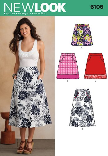 New Look U06106A Misses Skirts Sewing (Simplicity A-line)