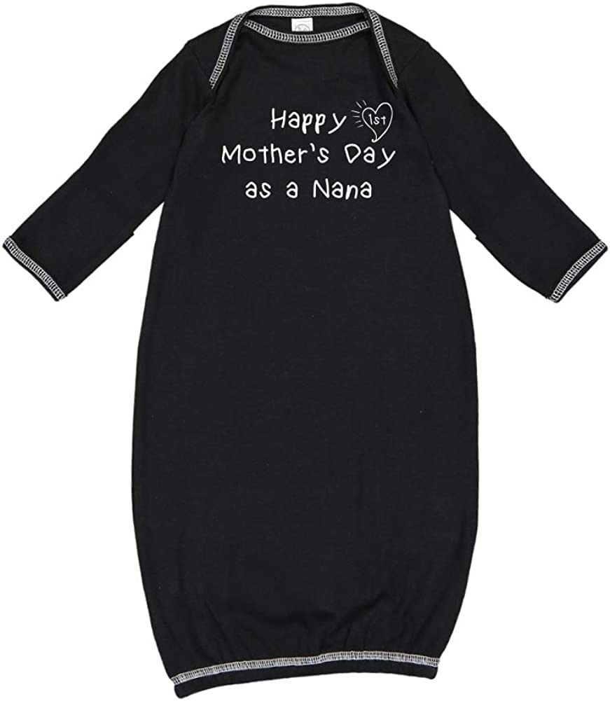 Happy 1st Mothers Day as a Nana Kids Handwriting Baby Cotton Sleeper Gown