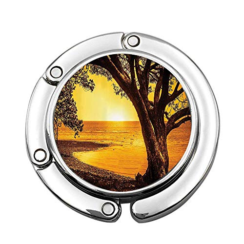keyishangmaoLu Single Tree on the Shore of A Lake at Sunset Romantic Scenic Panoramic Photo Print Foldable Purse Hook for Table - Bag Hanger Collection-Desk Hooks for - University Panoramic Photo