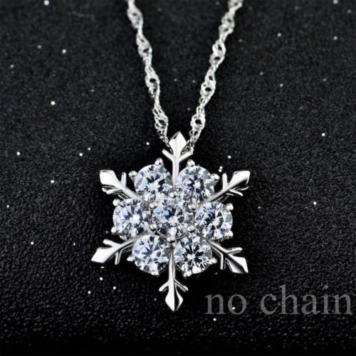 khamchanot Xmas Blue & White Round Cut 925 Silver Filled Snowflake Crystal Pendant -