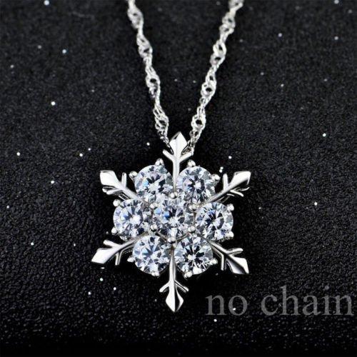 - khamchanot Xmas Blue & White Round Cut 925 Silver Filled Snowflake Crystal Pendant Jewelry