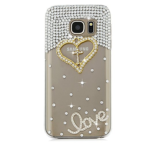 S7 Case,Samsung Galaxy S7 Case (Non-Edge) – Mavis's Diary 3D Handmade Bling Crystal Fashion Golden Love Heart Cross with Shiny Diamonds Gems Lovely De…