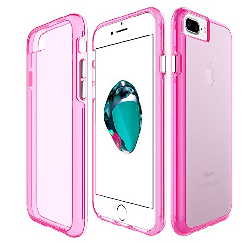 Pink Jeweled Heart (iPhone 8 Plus / 7 Plus / 6S Plus Case, KAMII Crystal Clear Ultra-thin Scratch Resistant Hard PC Back TPU Bumper Cover Case for Apple iPhone 6 Plus /6S Plus / 7 Plus / 8 Plus 5.5 Inch (Pink))