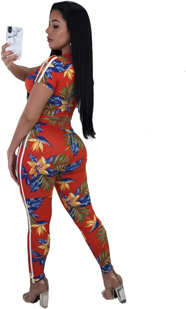 Womens 2 Pieces Outfits Short Sleeve Floral Print Hoodie Sweatshirt Crop Top and Long Pants Set Tracksuit