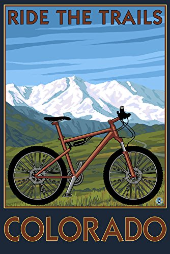 Colorado - Ride the Trails - Mountain Bike (12x18 Collectible Art Print, Wall Decor Travel - Trends Bike Mountain