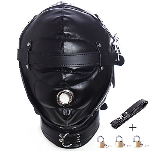 Leather Costume Head Mask Hood Full Face Lacing Unisex Halloween Masquerade Mask for $<!--$32.99-->