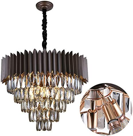 A AXILIXI 12 Lights 5-Tiers K9 Crystal Chandelier