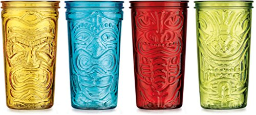 Home Essentials & Beyond 20 oz Assorted Colored Tiki Cooler Glasses (Set of 4), Clear