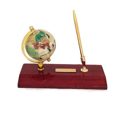 Executive Gemstone Globe Desktop Pen Holder: Office Products