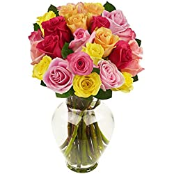 Benchmark Bouquets 2 Dozen Rainbow Roses, With Vase for Valentine's Day