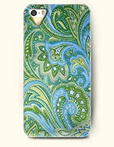 SevenArc Apple iPhone 5 5S Case Paisley Pattern ( Green and Sky Blue Buteh Tree )