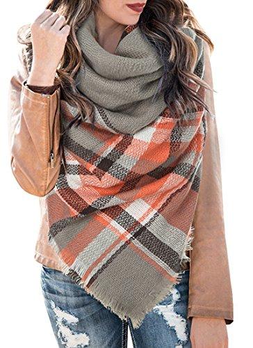 - Plaid Tartan Scarf Fall Winter Cashmere Blanket Scarves Buffalo Checked Wrap Shawl Grey and Orange
