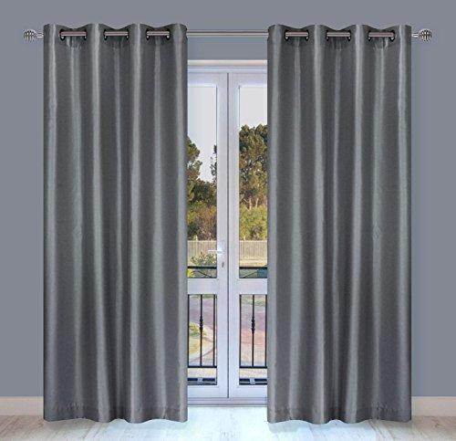 LJ Home Fashions 329 Silkana Faux Silk Grommet Curtain Panels (Set of 2) 56