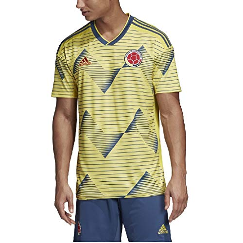 adidas Men's FCF Colombia Home Soccer Jersey (Large) Light Yellow/Night Marine