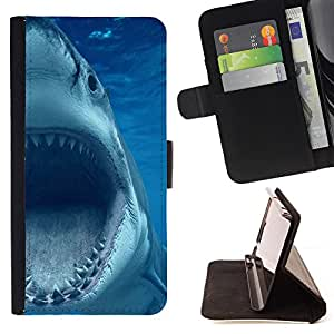 - Shark Sea - - Style PU Leather Case Wallet Flip Stand Flap Closure Cover FOR Samsung Galaxy S4 IV I9500 - Devil Case -