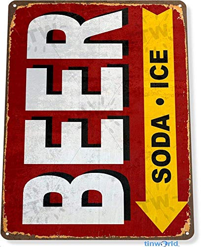 - Qanbt Tin Sign 7.8inch11.8inches Beer Soda Ice Bar Store Marina Rustic Metal Decor