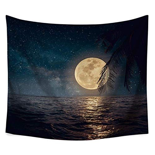 COLORFULSKY Night Ocean Luna Tapestry,Fantasy Retro Full Moon in Night Skies Wall Hanging Tapestries,Vintage Tropical Beach Artwork,Mural for Bedroom Living Room Dorm Home 60