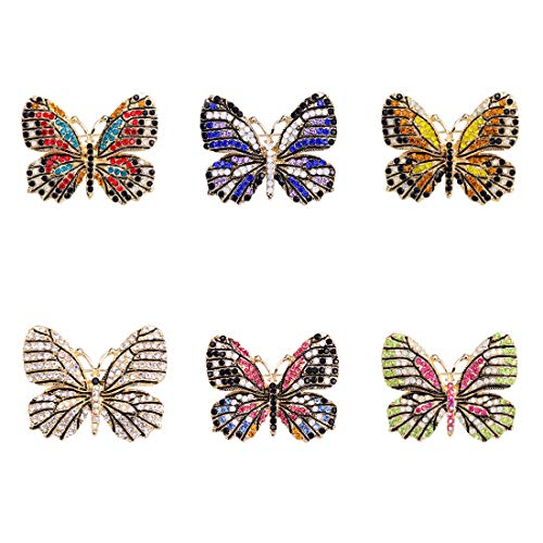 (WeimanJewelry Lot 6pcs Multicolor Rhinestone Crystal Butterfly Brooch Pin Set for Women)